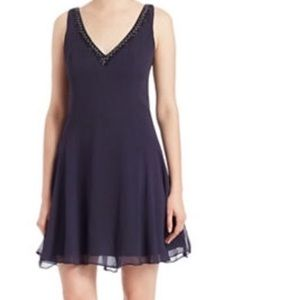 French Connection Navy Blue Beaded mini dress